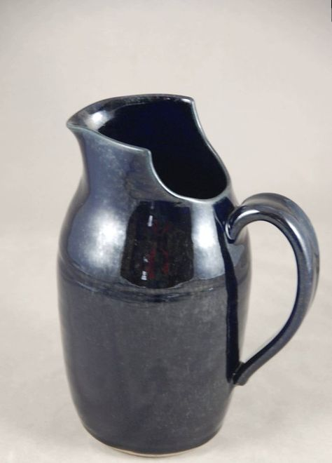 SALE, Large Pitcher with Cut Away Rim in Midnight Blue, 50 Percent Off,Pottery Serving Pitcher, Ston