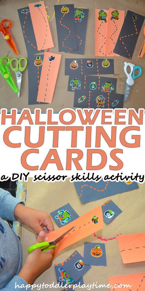 Halloween Scissor Skills DIY Cutting Cards - HAPPY TODDLER PLAYTIME These DIY Cutting Cards for Halloween are super simple to create and make a great scissors skills activity for preschoolers! Halloween Activities For Kids, Toddler Learning Activities, Autumn Activities, Physical Activities, Dementia Activities, Cutting Activities For Kids, Time Activities, Therapy Activities, Preschool Themes