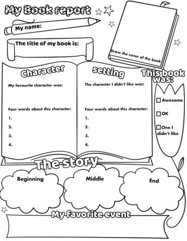 Super coloring My Book Report Printable Worksheet Free Printable Papercraft Book Review Template, Book Report Templates, Grade Book Template, 1st Grade Books, Grade 2, Printable Worksheets, Free Printable, Summer Worksheets, Kindergarten Books