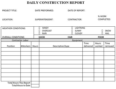 Daily Construction Report Template document all job site summary - monthly pay slip