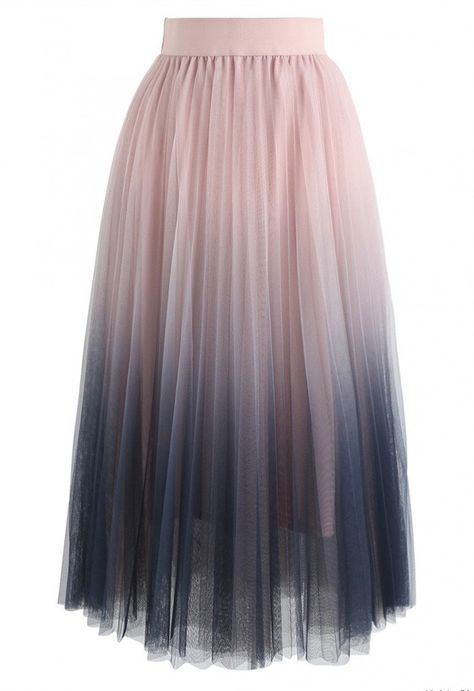 Cherished Memories Gradient Pleated Tulle Skirt in Pink - NEW ARRIVALS - Retro, Indie and Unique Fashion