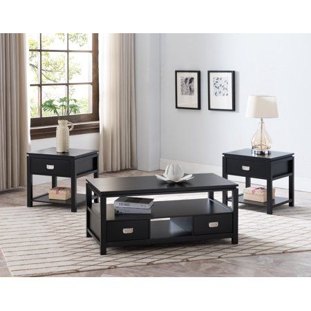 Adelaide 3 Piece Storage Coffee Table Set Black Wood Contemporary Walmart Com Coffee Table Coffee Table With Storage Coffee Table Setting