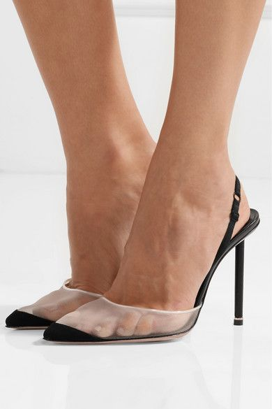 905df2d9155 Alexander Wang | Alix suede and leather-trimmed mesh slingback pumps ...