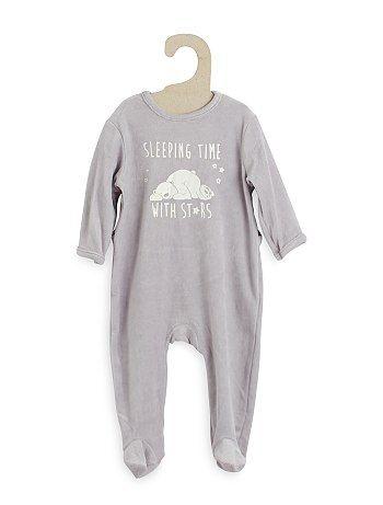 Pijama De Terciopelo Con Estampado Delantero Rosa Bebe Nina