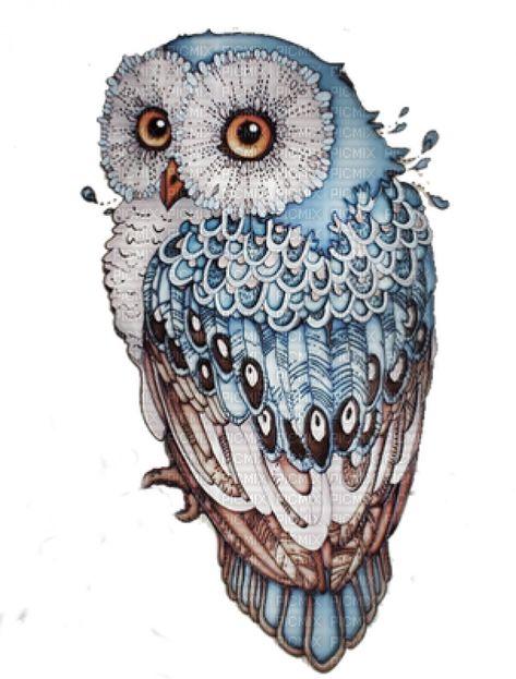 See the stamp hibou charu_rappel bird vogel eule hibou owl scrap blau braun blue bleu brun belonging to charu_rappel on PicMix.