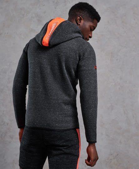 Superdry Black & Orange Gym Tech Zip Up Hoodie Men