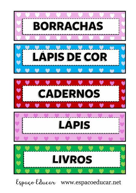 Etiquetas Lindas Para Organizar Material Escolar Em Sala De Aula