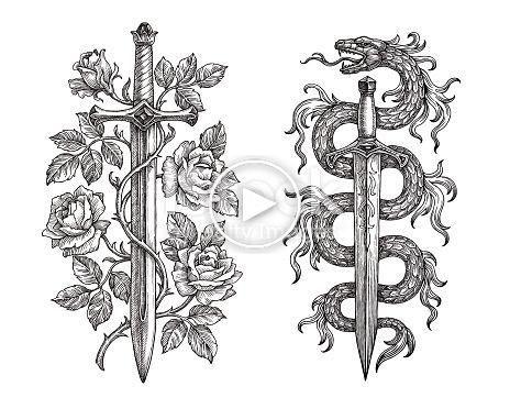 Dibujo A Mano De Dos Cuchillas De Acero Medievales Sobre Fondo Blanco Espadas Y Dagas Tatuaje Medieval Tatuaje Espada