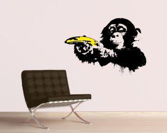 Wandtattoo Banksy Affe Mit Warhol Banane Popart Streetart