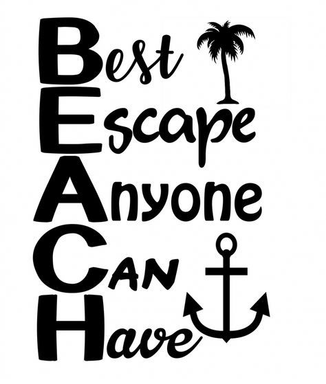 Free Beach SVG File | Cricut | Beach quotes, Beach photos