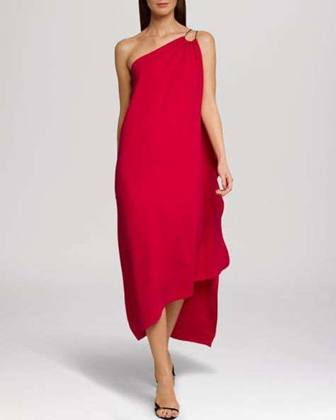 Halston Heritage Dress - One Shoulder Chain Strap