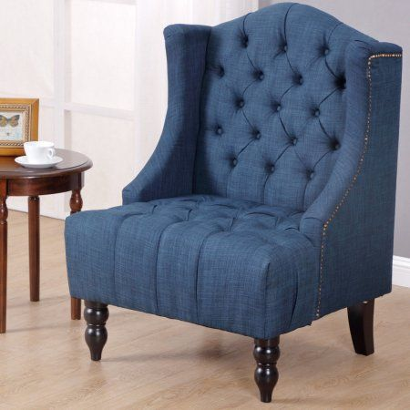 Costway Modern Tall Wingback Tufted Accent Armchair Fabric Vintage Chair Nailhead Navy Vint With Images Vintage Chairs Accent Arm Chairs Unique Furniture Pieces
