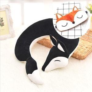 Lovely Fox Animal Cotton Plush U Shape Neck Pillow Travel Car Home