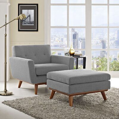 Johnston Club Chair And Ottoman Fabric Expectation Gray Chair And Ottoman Set Chair And Ottoman Modern Furniture Living Room