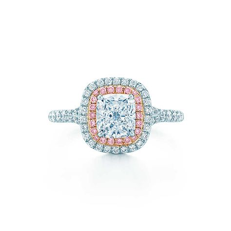 19779b7d1 Tiffany Soleste® Cushion Cut Double Halo Engagement Ring with Pink ...