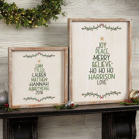 Family Christmas Tree 12x12 Personalized Framed Wall Art Personalized Christmas Decor Christmas Wall Art Christmas Gift Tags