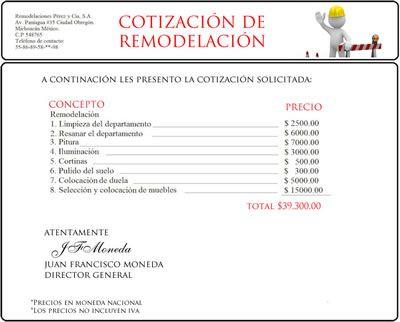 Ejemplo De Presupuesto O Cotizacion Presupuesto Desarrollo De Sitios Web Teléfono De Contacto