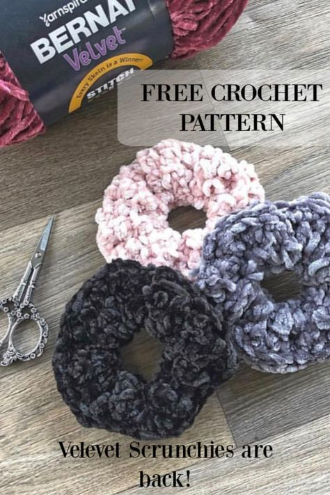 Free Crochet Pattern! Crochet these fun Velvet Hair Scrunchies in this Quick and Easy Crochet Pattern.