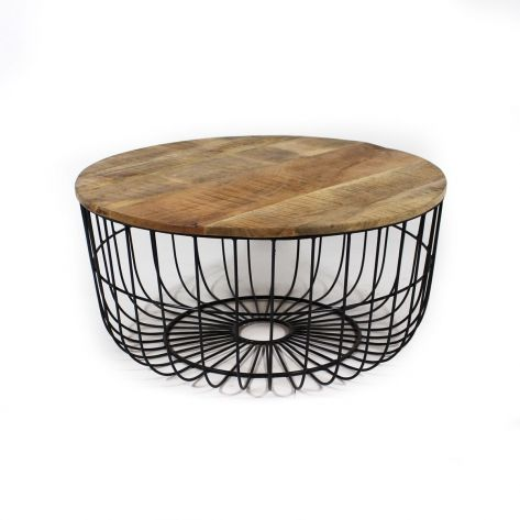 Table Basse Panier En Metal Et Manguier Table Basse Metal Table Basse Panier Metal