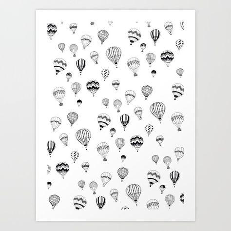 Hand-drawn 'Hot Air Balloon' design Art Print
