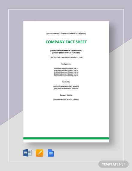 Company Fact Sheet Template Word Apple Pages Google Docs Fact Sheet Word Doc Facts
