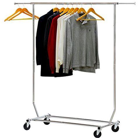 adjustable rolling garment rack heavy