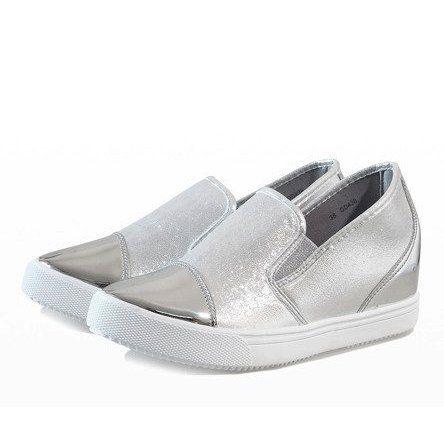 Srebrne Sneakersy Na Koturnie Dd436 2 Szare Wedge Sneakers Silver Wedges Sneakers