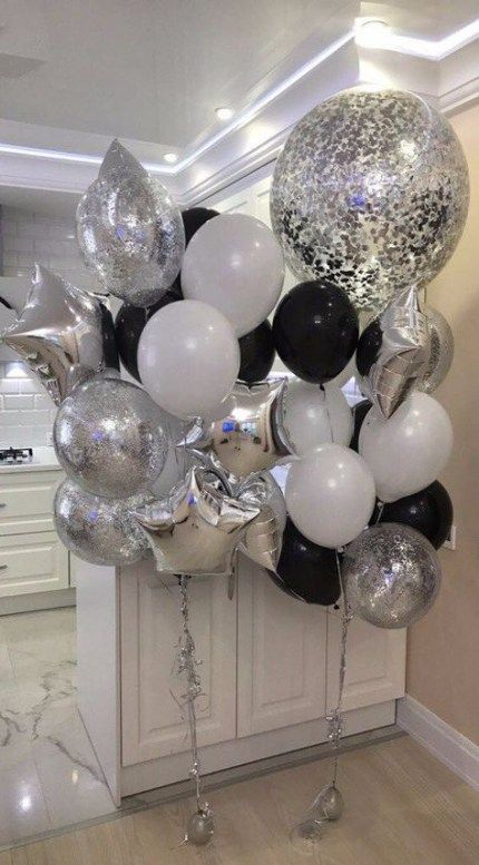 Party Balloons Decorations Black White 38 Trendy Ideas Party Balloon Decorations Party Birthday Balloon Decorations Silver Party Decorations