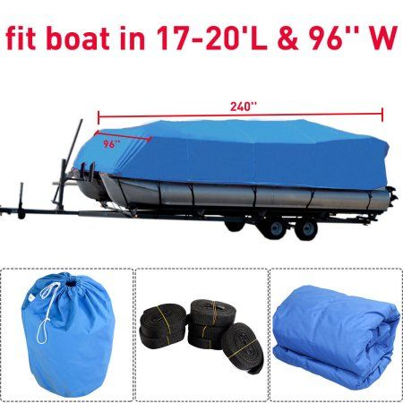 17-20ft  Fabric Waterproof Heavy Duty Trailerable Pontoon Boat Cover