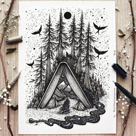 New limited close edition artwork is now available in my shop. Dotted Drawings, Ink Pen Drawings, Cool Art Drawings, Art Drawings Sketches, Mandala Art, Stylo Art, Art Du Croquis, Hippie Painting, Geometric Nature