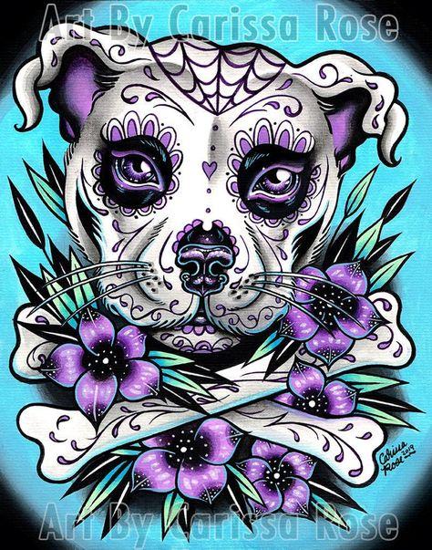 Sugar Skull Wallpaper, Sugar Skull Artwork, Sugar Skull Drawings, Sugar Skull Painting, Cool Skull Drawings, Pitbull Tattoo, Bull Tattoos, Sugar Skull Mädchen, Sugar Skull Tattoos