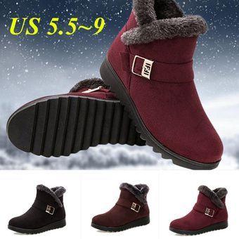 Damskie Zimowe Wodoodporne Antyposlizgowe Botki Cieple Futrzane Obuwie Buty Booten Czarne Wino Czerwone Brazowe Boots Warm Snow Boots Snow Boots