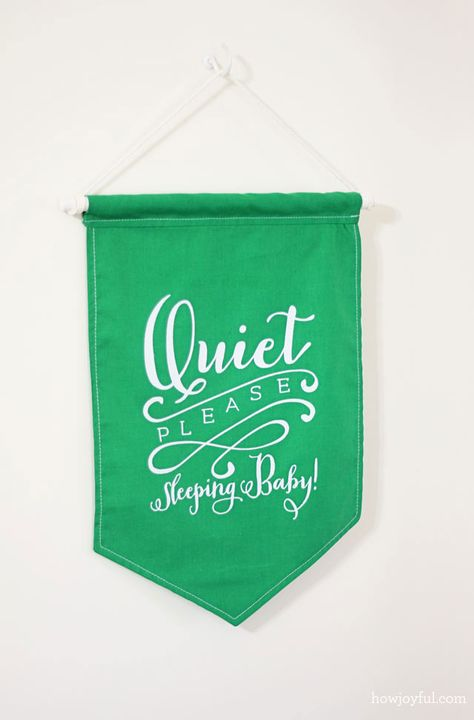 """Quiet please sleeping baby"" banner and free print 