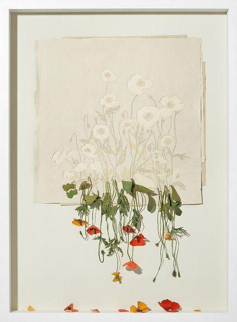 Peter Callesen                                                 Alive, but Dead, 2006  Acid Free paper, glue, acrylic paint, and oak frame.  127 x 94 x 11,5 cm.