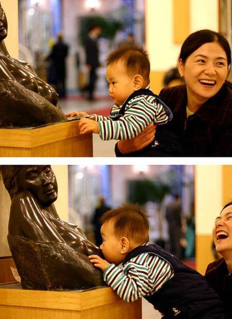 Baby Tries to Feed Off a Statue - Breastfeeding Fail - Mom Thinks It's Funny ---- best hilarious jokes funny pictures walmart humor fail