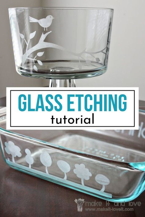 Transform your glass item with this glass etching tutorial. I walk you through how to create stunning designs on your glass. Etching is easy! Painting Moving Decor and Organization Broken Glass Art, Sea Glass Art, Stained Glass Art, Fused Glass, Glass Etching Designs, Glass Etching Stencils, Diy Glass Etching, Etched Glass Door, Etched Wine Glasses