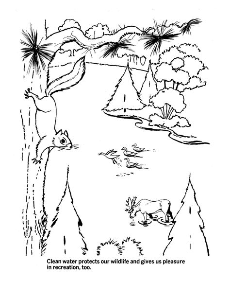 Earth Day Coloring Pages - Ecology protects the clean waters