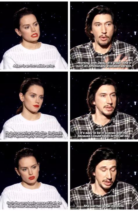 Daisy Ridley And Adam Driver Complimenting Each Other Star Wars