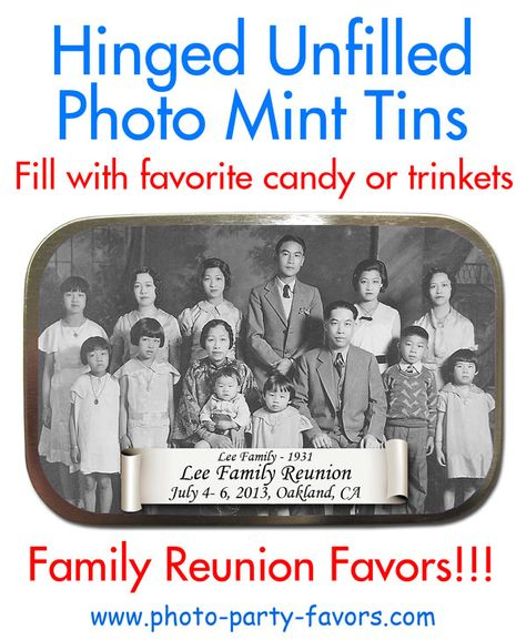 Your Family Photo Featured On Large, Hinged Mint Tins - Great keepsake idea for family reunion! More family reunion favors at http://www.photo-party-favors.com/family-reunion-favors.html