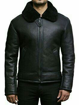 AVIATOR Black Men/'s Real Nappa Lambskin Leather Cool Short Pilot Bomber Jacket
