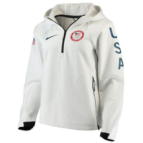 Women's Nike White Team USA Tech Fleece Performance Quarter-Zip Pullover Hoodie