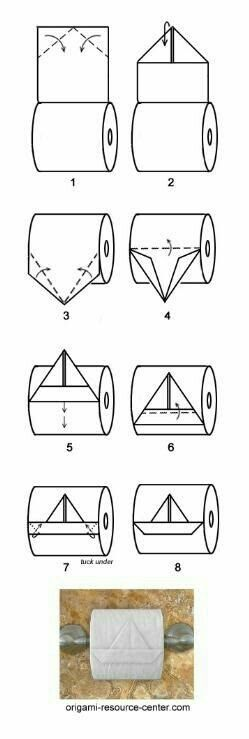 boat toilet paper origami - this is just too funny :D Toilet Paper Origami, Instruções Origami, Oragami, Origami Boat, Fun Crafts, Diy And Crafts, Arts And Crafts, Craft Ideas, Life Hacks