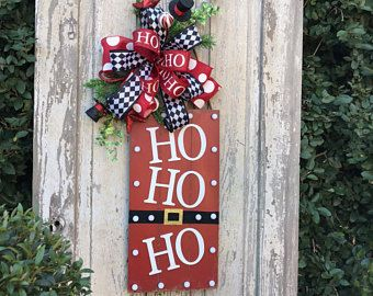 Ho Ho Ho Door Hanger Christmas Door Hanger Holiday Wreath For Front Door Santa Wreath Holi Christmas Door Decorations Christmas Door Hanger Door Decorations