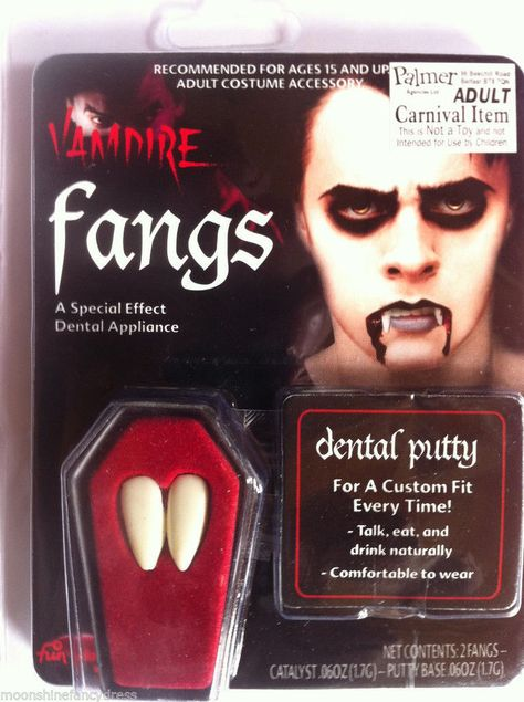 Vampire fangs caps teeth for halloween fancy dress makeup DRACULA adults.