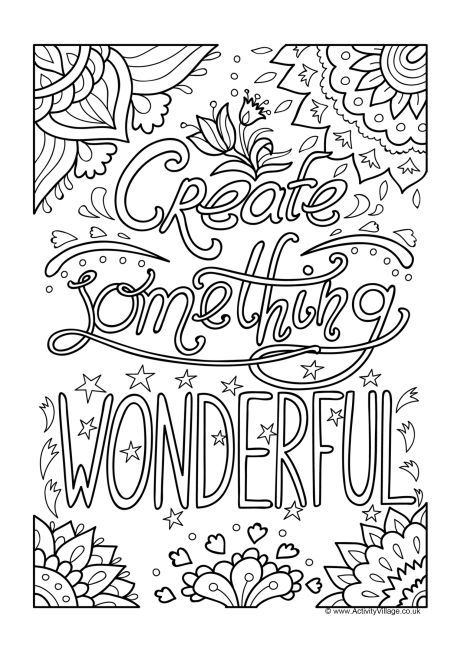 Create Something Wonderful Colouring Page Quote Coloring Pages