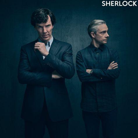 SHERLOCK (BBC) ~ S4 promo photo of Benedict Cumberbatch (Sherlock) & Martin…