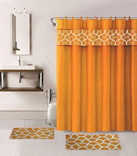 15piece Geometric Bathroom Set W Bath Rugs Shower Curtain Rings
