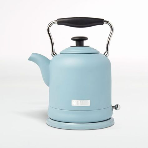 Painted robin's egg blue, this stainless steel electric kettle starts your day with a warm cup of tea a matte pop of color. Inspired by Highclere Castle and other stately British homes, Haden updates the stalwart electric kettle with modern hues and features while celebrating a kitchen essential. With its ridged lid and curving handle and spout, the dreamy blue kettle offers old-fashioned elegance. Boil-dry protection, stay-cool base and a light that indicates boiling all keep you safe. Pair wit Kitchen Hacks, Kitchen Gadgets, Kitchen Supplies, British Home, Crate And Barrel, Kitchen Essentials, Crates, Color Pop, Tea Pots