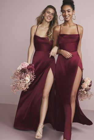 Shiny Charmeuse Cowl Neck Slip Dress with Slit Red Bridesmaids, Burgundy Bridesmaid Dresses, Wedding Bridesmaid Dresses, Dream Wedding Dresses, Wedding Dress With Red, Different Bridesmaid Dresses, Beautiful Bridesmaid Dresses, Bridesmaid Shoes, Satin Dresses