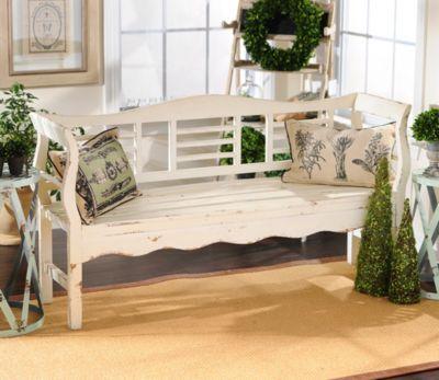 Astonishing Product Details Distressed White Wood Bench Diy Kirkland Machost Co Dining Chair Design Ideas Machostcouk